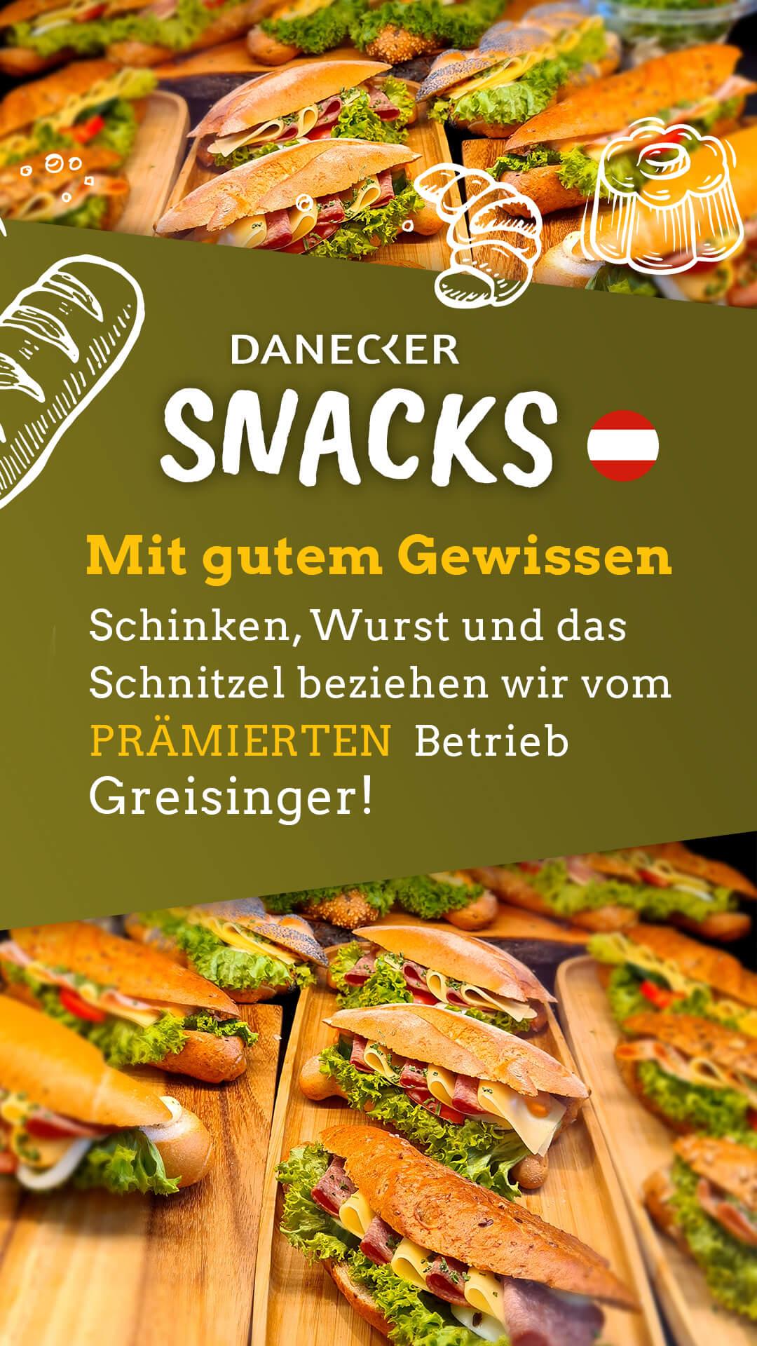 Snacks Jause Danecker Bäckerei Konditorei Amstetten Bahnhof, Allersdorf, Greinsfurth, Perg, Linz, Wallsee, Aschbach, Maue